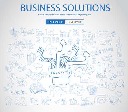 pensamiento creativo: Soluciones de Negocio Concepto con el estilo de diseño del Doodle: la búsqueda de la solución, de intercambio de ideas, el pensamiento creativo. Ilustración de estilo moderno para la web banners, folletos y volantes.