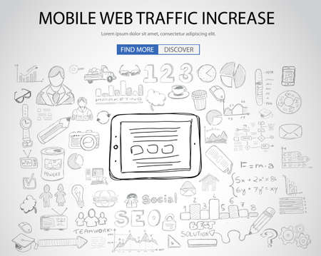 information technology: Mobile web traffic concept with Doodle design style :internet connections, web analysis, www statistics .Modern style illustration for web banners, brochure and flyers.