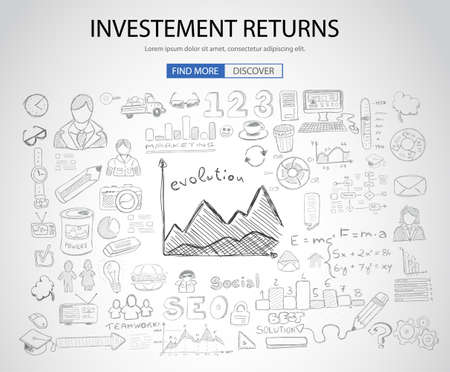 Investment Returns  concept with Doodle design style :teaching solution, studies, creative ideas. Modern style illustration for web banners, brochure and flyers.