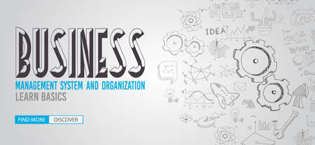 business team: Business Management Concept with Doodle design style :finding solution, brainstorming, creative thinking. Modern style illustration for web banners, brochure and flyers.