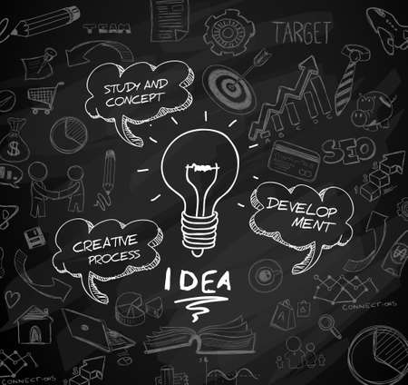 pensamiento creativo: idea concept with light bulb and doodle sketches infographic icons hand drawn.Doodle design style :finding solution, brainstorming, creative thinking. Modern style illustration for web banners, brochure and flyers.