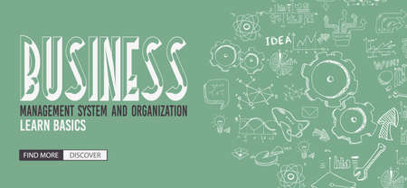 abstract business: Business Management Concept with Doodle design style :finding solution, brainstorming, creative thinking. Modern style illustration for web banners, brochure and flyers.