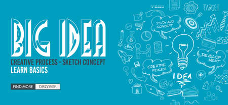 design solutions: Big Idea concept with Doodle design style :Finding Solutions, UI design,creative thinking. Modern style illustration for web banners, brochure and flyers.