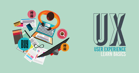 user experience design: UX User Experience Background concept with Doodle design style :user interfaces, guidelines, solutions, creative thinking. Modern style illustration for web banners, brochure and flyers.