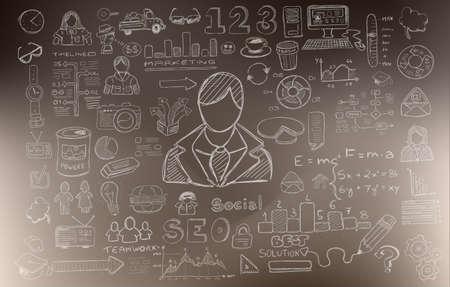pensamiento creativo: Desarrollo de Negocio de fondo el concepto facturan con el estilo de diseño del Doodle: encontrar la solución, de intercambio de ideas, el pensamiento creativo, la infografía. Ilustración de estilo moderno para la web banners, folletos y volantes.