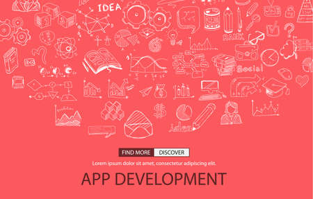 freelancing: App Development Concept with Doodle design style :user interfaces, UI design,creative thinking. Modern style illustration for web banners, brochure and flyers. Illustration