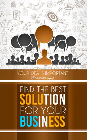 solutions: Conceptual background: find the best solution for your business. A big slogan over a squared panel placed over a doodle sketch background wih infographics themed elements. Illustration