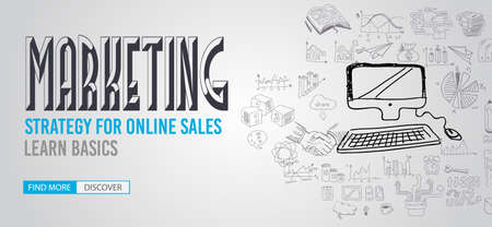 marketing strategy: Marketing Strategy  with Doodle design style :finding solution, brainstorming, creative thinking. Modern style illustration for web banners, brochure and flyers. Illustration