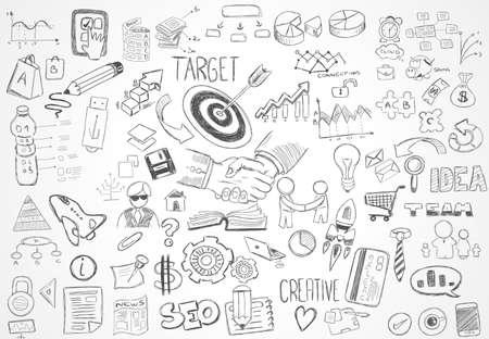 iconos: Fondo abstracto moderno con dibujados a mano bocetos del doodle para los diseños Folleto, diseños de folletos, tarjetas de negocios, Página web fondos de pantalla, Magazine Covers o presentaciones.