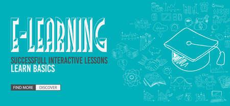 Bildungs-und Lern-Konzept mit Doodle Design-Stil: Lehr Lösung, Studien, kreative Ideen. Moderne Art-Illustration für Web-Banner, Broschüren und Flyer. Standard-Bild - 47969070