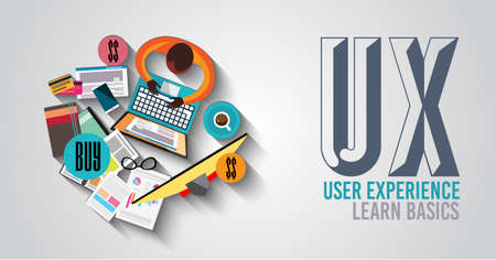 사용자 인터페이스, 지침, 솔루션, 창의적 사고 : 낙서 디자인 스타일 UX 사용자 경험의 배경 개념. 웹 배너, 브로셔 및 전단지 현대적인 스타일입니다.