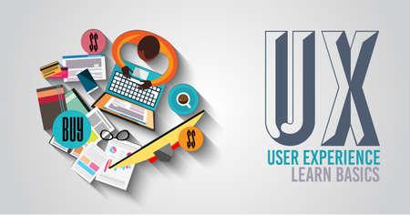 UX User Experience Hintergrund Konzept mit Doodle Design-Stil: Benutzerschnittstellen, Richtlinien, Lösungen, kreatives Denken. Moderne Art-Illustration für Web-Banner, Broschüren und Flyer. Standard-Bild - 47969107
