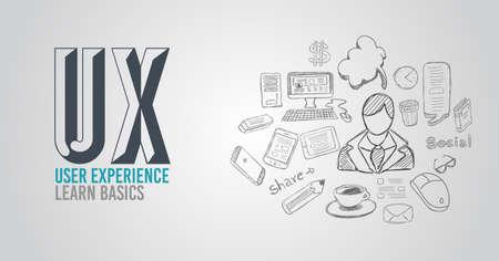 conception: UX expérience utilisateur fond, concept avec Doodle style design: des interfaces utilisateur, des lignes directrices, des solutions, la pensée créative. Illustration moderne de style pour bannières web, brochure et des dépliants. Illustration