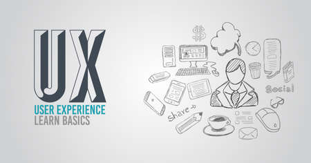 user: UX User Experience Background concept with Doodle design style :user interfaces, guidelines, solutions, creative thinking. Modern style illustration for web banners, brochure and flyers.