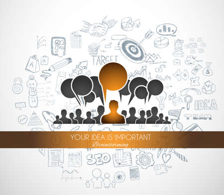 business teamwork: Braistorming concept with Doodle design style background: online solution, social media campain, creative ideas,Modern style illustration for web banners, brochure and flyers.