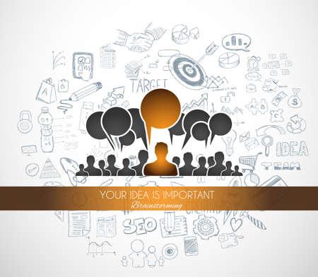trabajo en equipo: Braistorming concepto con el dibujo de fondo estilo de diseño: solución en línea, campain medios de comunicación social, ideas creativas, la ilustración de estilo moderno para la web banners, folletos y volantes.