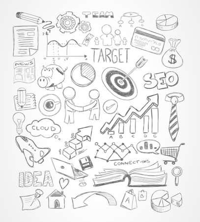 Moderne Abstracte achtergrond met de hand getekende doodle schetsen voor Flyer ontwerpen, Brochure lay-outs, Business Card templates, Website wallpapers, tijdschriftcovers of presentaties.