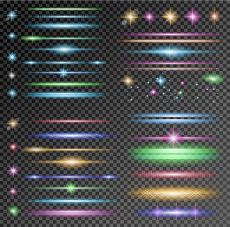 Vector Sparkle Collection with a lot of different Shapes: circolar lightning , point of lights, sparkle bars, cross sparkles. Ready to copy and past on whatever background Vectores