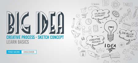 pensamiento creativo: Concepto de la idea grande con diseño de estilo Doodle: Búsqueda de soluciones, diseño de interfaz de usuario, el pensamiento creativo. ilustración de estilo moderno para la web banners, folletos y volantes.