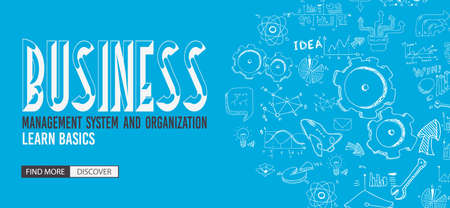 collaboration: Business Management Concept with Doodle design style :finding solution, brainstorming, creative thinking. Modern style illustration for web banners, brochure and flyers.