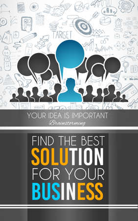 Conceptual background: find the best solution for your business. A big slogan over a squared panel placed over a doodle sketch background wih infographics themed elements. Illustration