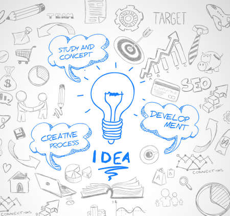bulb light: idea concept with light bulb and doodle sketches infographic icons hand drawn.Doodle design style :finding solution, brainstorming, creative thinking. Modern style illustration for web banners, brochure and flyers.