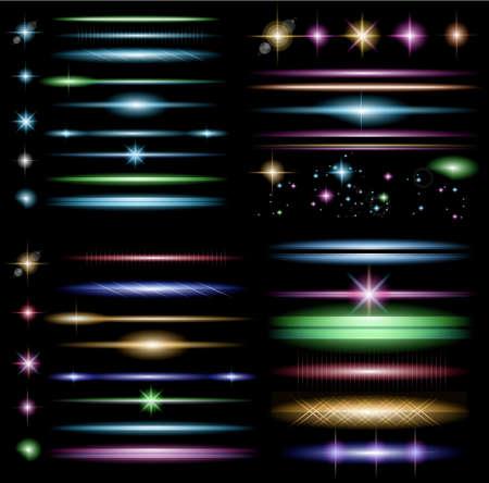 star bright: Sparkle Colecci�n del vector con una gran cantidad de diferentes formas: rel�mpago, circolar punto de luces, barras transversales, chispas. Listo para copiar y pegar en cualquier fondo