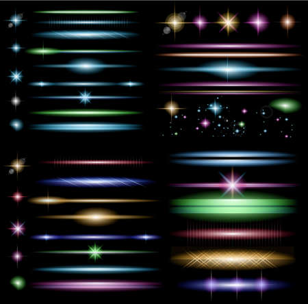 Vector Sparkle Collection with a lot of different Shapes: circolar lightning , point of lights, sparkle bars, cross sparkles. Ready to copy and past on whatever background Stock Illustratie