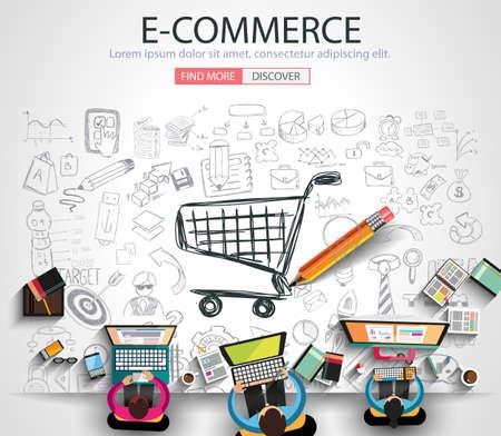Concept E-commerce met Doodle design stijl: on-line marketing, social media, creatief denken. Moderne stijl illustratie voor het web banners, brochure en flyers.