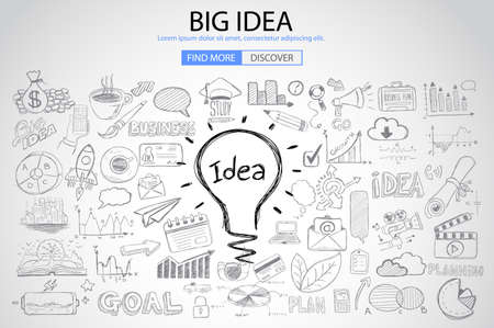 Big Idea concept with Doodle design style :Finding Solutions, UI design,creative thinking. Modern style illustration for web banners, brochure and flyers.