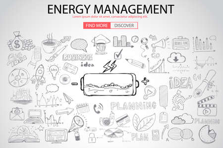 energy management: Energy management with Doodle design style :power savings, optimization process, creative thinking. Modern style illustration for web banners, brochure and flyers. Illustration
