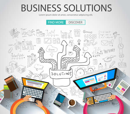 pensamiento creativo: Business Solutions concepto con el estilo de diseño del Doodle: la búsqueda de la solución, de intercambio de ideas, el pensamiento creativo. Ilustración de estilo moderno para la web banners, folletos y volantes.