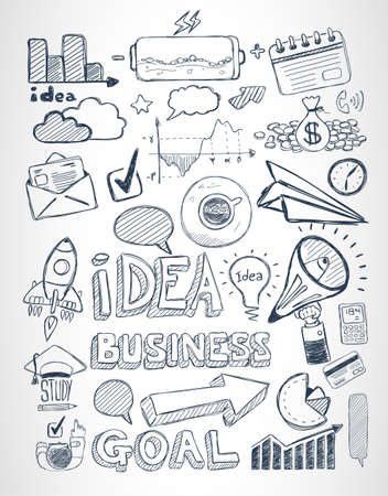 business background: Business doodles Sketch set : infographics elements isolated, vector shapes. It include lots of icons included graphs, stats, devices,laptops, clouds, concepts and so on.
