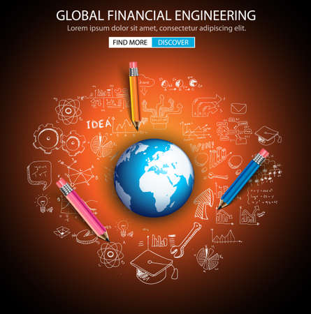 engineering concept: Global Financial Engineering concept with Doodle design style :tmoney distribuiion, studies, investment strategies. Modern style illustration for web banners, brochure and flyers.