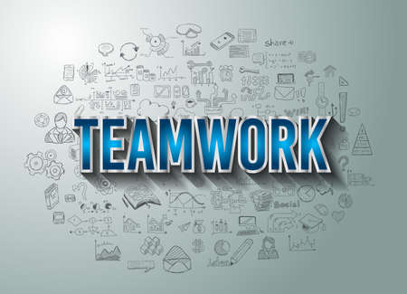 work team: Teamwork Business Success with Doodle design style :finding solution, brainstorming, creative thinking. Modern style illustration for web banners, brochure and flyers. Illustration