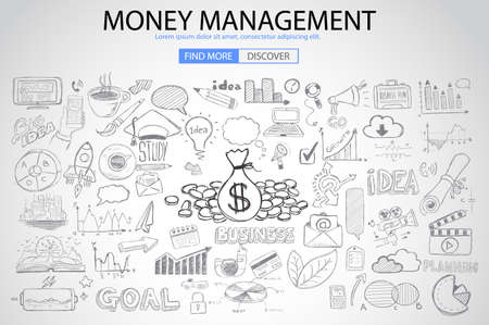 investmen: Money Management concept with Doodle design style saving solution, investmen studies, stock graphs. Modern style illustration for web banners, brochure and flyers.