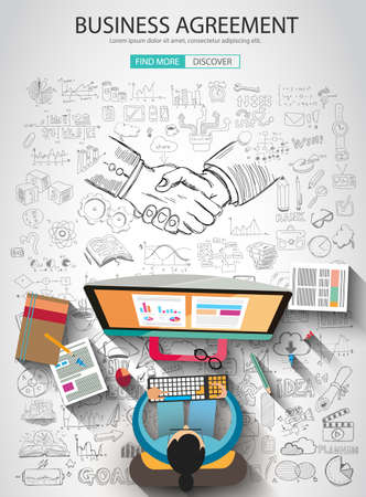 shake hands: Business Agreement concept wih Doodle design style :finding solution, brainstorming, creative thinking. Modern style illustration for web banners, brochure and flyers.
