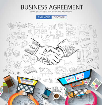 work team: Business Agreement concept wih Doodle design style :finding solution, brainstorming, creative thinking. Modern style illustration for web banners, brochure and flyers.