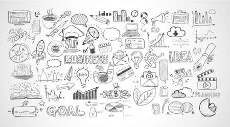 success strategy: Business doodles Sketch set : infographics elements isolated, vector shapes. It include lots of icons included graphs, stats, devices,laptops, clouds, concepts and so on.