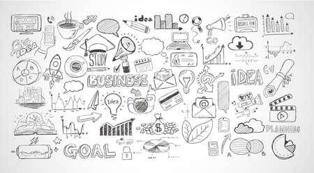 Geschäfts Kritzeleien Sketch Set: Infografiken Elemente isoliert, Vektorformen. Es sind viele Symbole enthalten Diagramme, Statistiken, Geräte, Laptops, Wolken, Konzepte und so weiter. Standard-Bild - 48259216