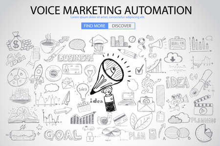 Voice Marketing concept with Doodle design style :finding ideas,social media advertising, creative slogans. Modern style illustration for web banners, brochure and flyers. Illustration