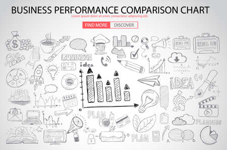business performance: Business Performance Comparison Chart Concept with Doodle design style :finding solution, brainstorming, creative thinking. Modern style illustration for web banners, brochure and flyers. Illustration