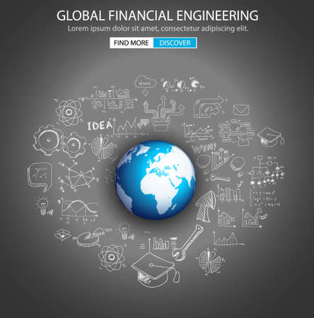 financial: Global Financial Engineering concept with Doodle design style :tmoney distribuiion, studies, investment strategies. Modern style illustration for web banners, brochure and flyers.