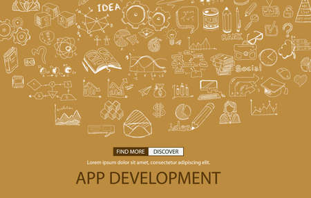 digital design: App Development Concept with Doodle design style :user interfaces, UI design,mobiel devices. Modern style illustration for web banners, brochure and flyers.