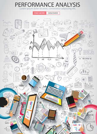 pensamiento creativo: Análisis de rendimiento concet con estilo de diseño del Doodle: la búsqueda de la solución, de intercambio de ideas, el pensamiento creativo. Ilustración de estilo moderno para la web banners, folletos y volantes.