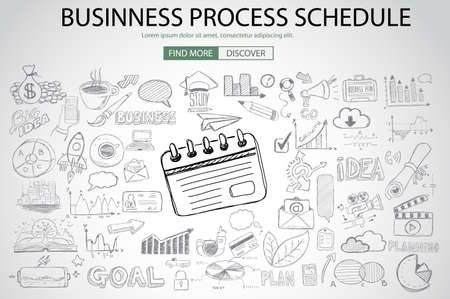 printed work: Business Process Schedule with Doodle design style :finding solution, brainstorming, creative thinking. Modern style illustration for web banners, brochure and flyers.