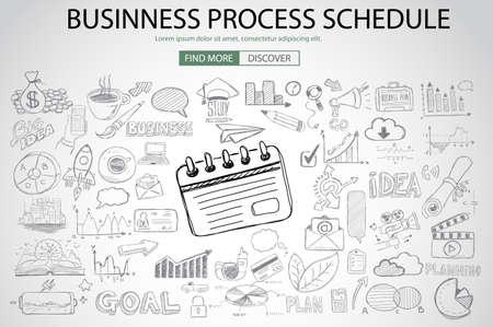 pensamiento creativo: Cronograma del Proceso de negocios con el estilo de diseño del Doodle: encontrar la solución, de intercambio de ideas, el pensamiento creativo. ilustración de estilo moderno para la web banners, folletos y volantes.