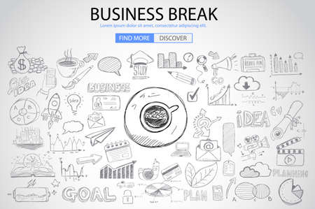 web solution: Business Break concept with Doodle design style :finding solution, brainstorming, creative thinking. Modern style illustration for web banners, brochure and flyers.