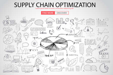 Supply Chain optimization concept with Doodle design style :finding solution, brainstorming, creative thinking. Modern style illustration for web banners, brochure and flyers. Illustration