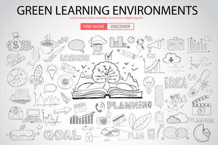 educacion ambiental: Entorno de Aprendizaje verde con Doodle estilo de diseño: el ahorro de energía, proceso de optimización, el pensamiento creativo. ilustración de estilo moderno para la web banners, folletos y volantes. Vectores